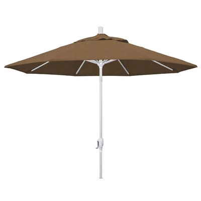 9 Market Umbrella Frame Finish: Matted White, Fabric: Woven Sesame
