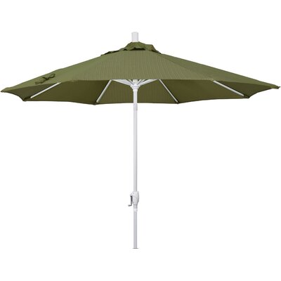 9 Market Umbrella Frame Finish: Matted White, Fabric: Terrace Fern