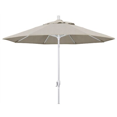 9 Market Umbrella Frame Finish: Matted White, Fabric: Woven Granite