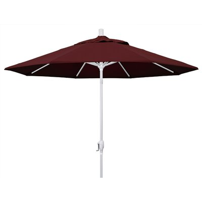 9 Market Umbrella Fabric: Burgandy, Frame Finish: Matted White