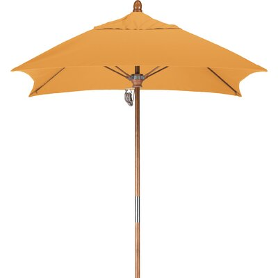 6 Square Market Umbrella Fabric: Sunbrella-Cornsilk, Frame Finish: Marenti Wood