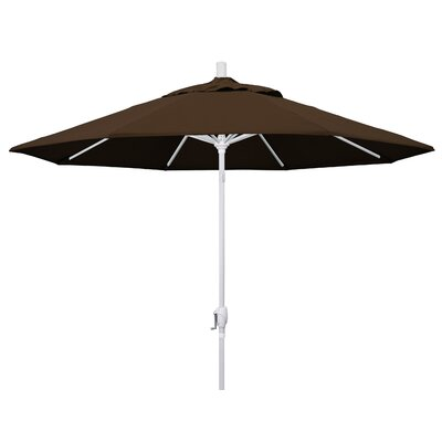 9 Market Umbrella Fabric: Mocha, Frame Finish: Matted White
