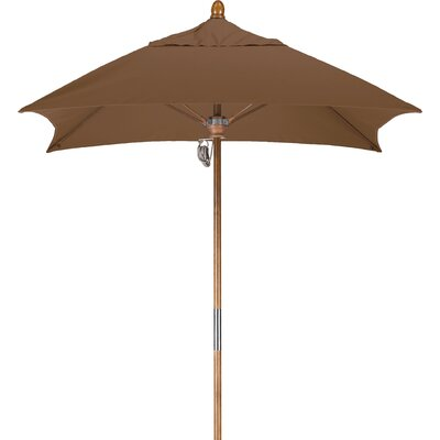 6 Square Market Umbrella Fabric: Sunbrella A Cork, Frame Finish: Marenti Wood