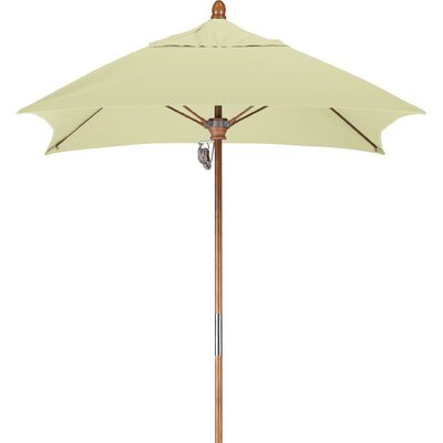 6 Square Market Umbrella Fabric: Sunbrella-Natural, Frame Finish: Marenti Wood