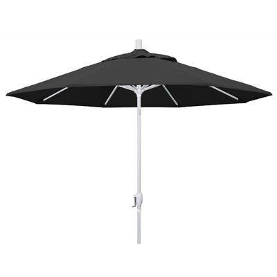 9 Market Umbrella Frame Finish: Matted White, Fabric: Black