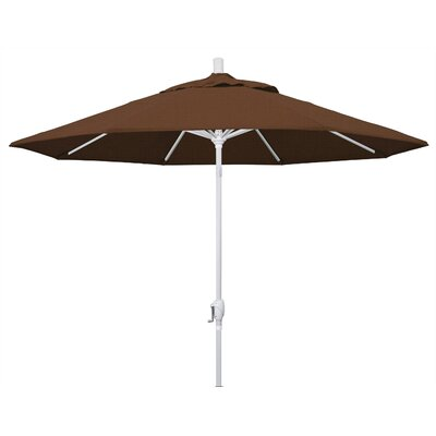 9 Market Umbrella Frame Finish: Matted White, Fabric: Teak