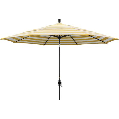 11 Market Umbrella Fabric: Regatta, Frame Finish: Matted White
