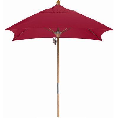 6 Square Market Umbrella Fabric: Sunbrella AA Jockey Red, Frame Finish: Marenti Wood