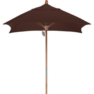 6 Square Market Umbrella Fabric: Sunbrella - Taupe, Frame Finish: Marenti Wood