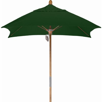 6 Square Market Umbrella Fabric: Sunbrella A Forest Green, Frame Finish: Marenti Wood