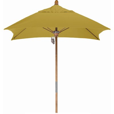 6 Square Market Umbrella Fabric: Sunbrella A Brass, Frame Finish: Marenti Wood