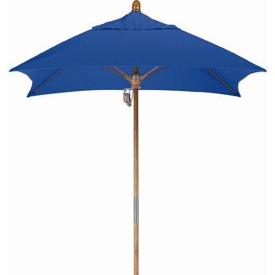6 Square Market Umbrella Fabric: Sunbrella A Pacific Blue, Frame Finish: Marenti Wood