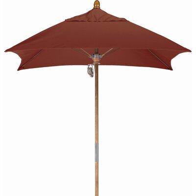6 Square Market Umbrella Fabric: Sunbrella AA Henna, Frame Finish: Marenti Wood