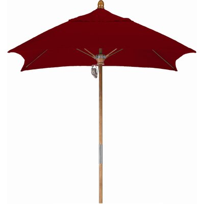 6 Square Market Umbrella Fabric: Sunbrella AA Terracotta, Frame Finish: Marenti Wood