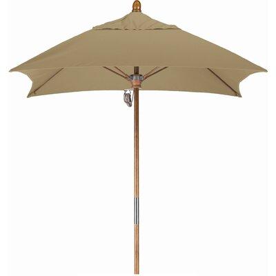 6 Square Market Umbrella Fabric: Sunbrella AA Sesame Linen, Frame Finish: Marenti Wood