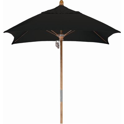6 Square Market Umbrella Fabric: Sunbrella A Black, Frame Finish: Marenti Wood