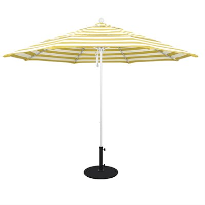 11 Market Umbrella Fabric: Citron, Frame Finish: Matted White