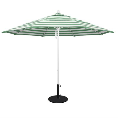11 Market Umbrella Fabric: Emerald, Frame Finish: Matted White