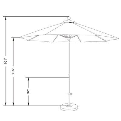 9 Olefin Round Umbrella Frame Finish: Matted White, Fabric: Olefin - Gray White Cabana Stripe
