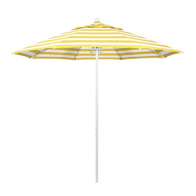 9 Market Umbrella Fabric: Citron, Frame Finish: Matted White