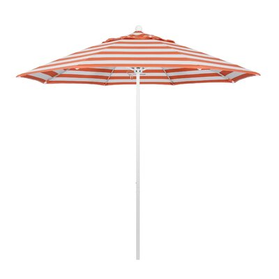 9 Market Umbrella Fabric: Flame, Frame Finish: Matted White