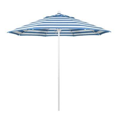 9 Market Umbrella Fabric: Regatta, Frame Finish: Matted White