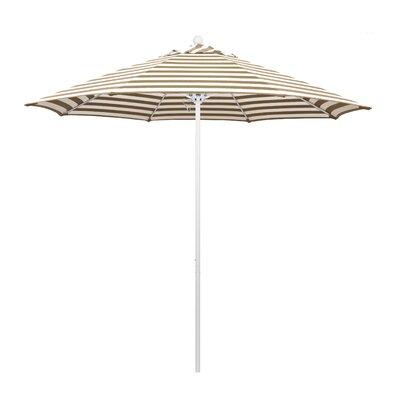 9 Olefin Round Umbrella Frame Finish: Matted White, Fabric: Olefin - Beige White Cabana Stripe