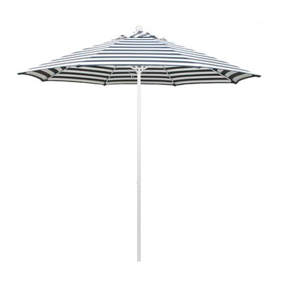 9 Olefin Round Umbrella Frame Finish: Matted White, Fabric: Olefin - Brick White Cabana Stripe