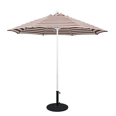 9 Olefin Round Umbrella Frame Finish: Matted White, Fabric: Olefin - Brick White Cabana Stripe