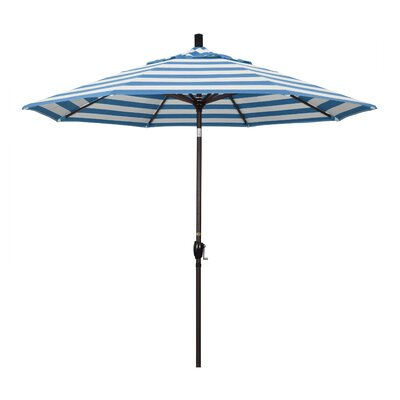 9 Market Umbrella Fabric: Regatta, Frame Finish: Matted White