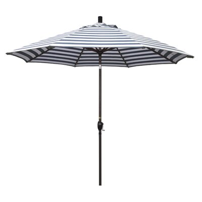 9 Market Umbrella Frame Finish: Bronze, Color: Navy White Cabana Stripe