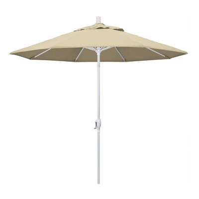 9 Market Umbrella Frame Finish: Matted White, Fabric: Sunbrella - Elan Scarlett