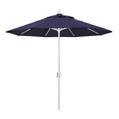 9 Market Umbrella Frame Finish: Matted White, Fabric: Navy