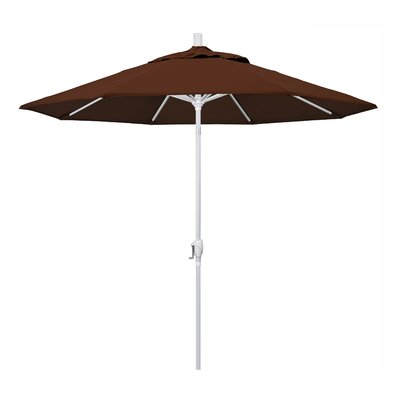 9 Market Umbrella Frame Finish: Matted White, Fabric: Bay Brown