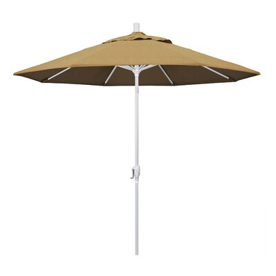 9 Market Umbrella Frame Finish: Matted White, Fabric: Brass