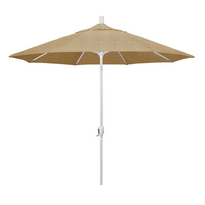 9 Market Umbrella Frame Finish: Matted White, Fabric: Sesame Linen