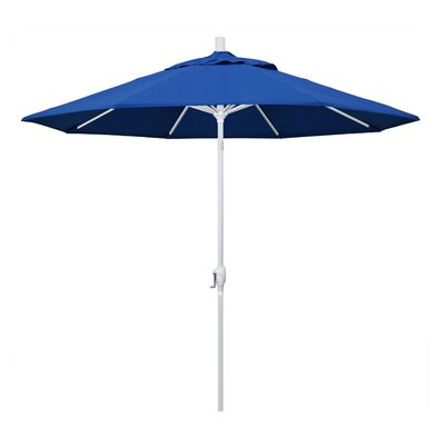 9 Market Umbrella Fabric: Pacific Blue, Frame Finish: Matted White