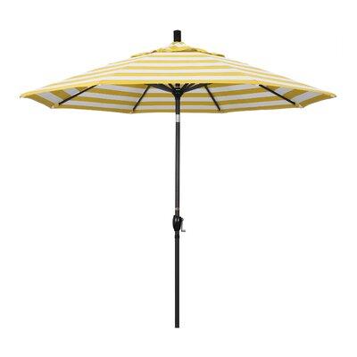 9 Market Umbrella Fabric: Citron, Frame Finish: Matted White