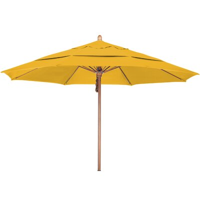 11 Market Umbrella Fabric: Pacifica Yellow, Frame Finish: Marenti Wood