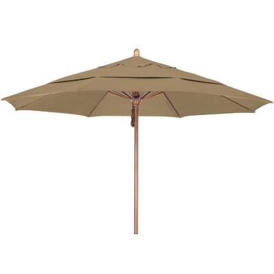 11 Market Umbrella Fabric: Sunbrella-Camel, Frame Finish: Marenti Wood