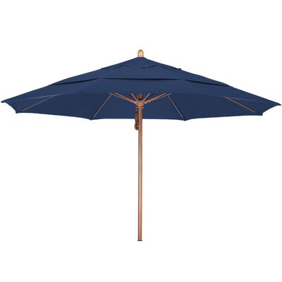 11 Market Umbrella Fabric: Pacifica Sapphire, Frame Finish: Marenti Wood
