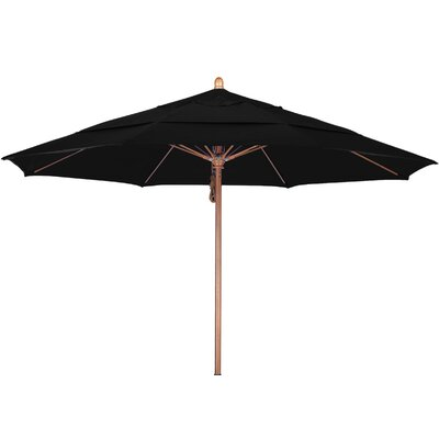 11 Market Umbrella Fabric: Pacifica Black, Frame Finish: Marenti Wood