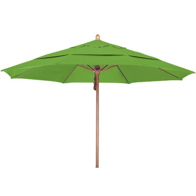 11 Market Umbrella Fabric: Pacifica Ginkgo, Frame Finish: Marenti Wood