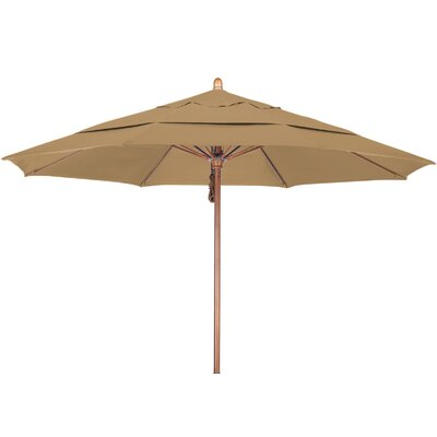 11 Market Umbrella Fabric: Pacifica Straw, Frame Finish: Marenti Wood