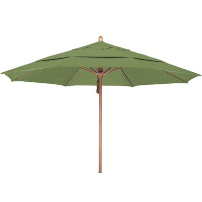11 Market Umbrella Fabric: Pacifica Palm, Frame Finish: Marenti Wood