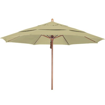 11 Market Umbrella Fabric: Pacifica Beige, Frame Finish: Marenti Wood