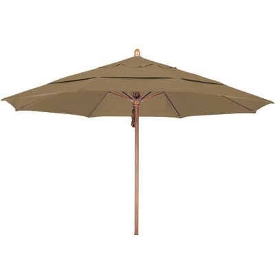 11 Market Umbrella Fabric: Sunbrella AA Sesame Linen, Frame Finish: Marenti Wood