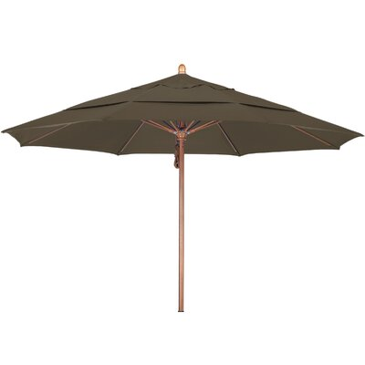 11 Market Umbrella Fabric: Sunbrella A Cocoa, Frame Finish: Marenti Wood