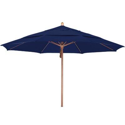 11 Market Umbrella Fabric: Sunbrella A Navy, Frame Finish: Marenti Wood