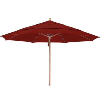 11 Market Umbrella Fabric: Sunbrella AA Terracotta, Frame Finish: Marenti Wood